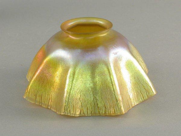 5: Tiffany gold Favrile ruffled shade. Signed