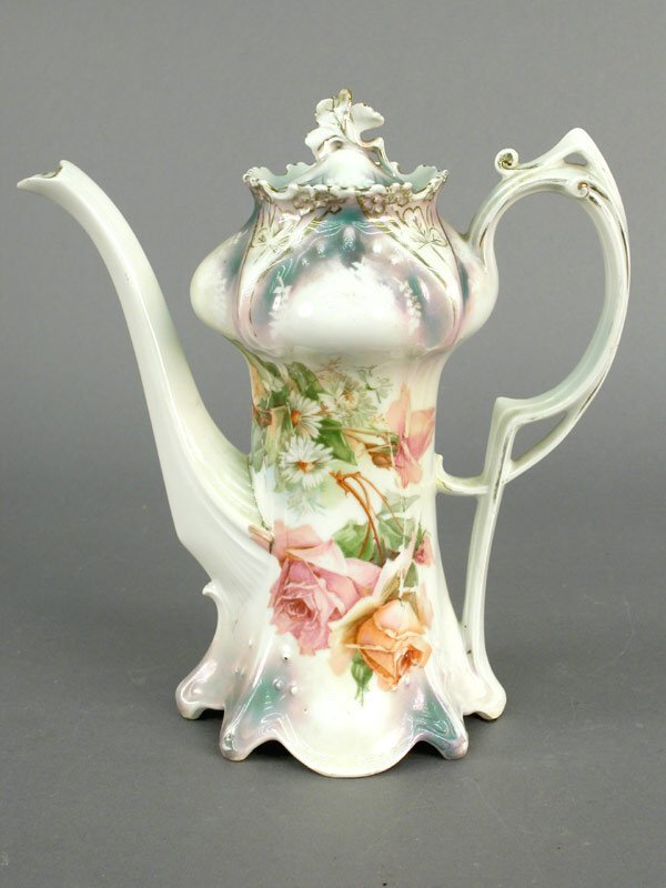 6: R S Prussia chocolate pot decorated with r