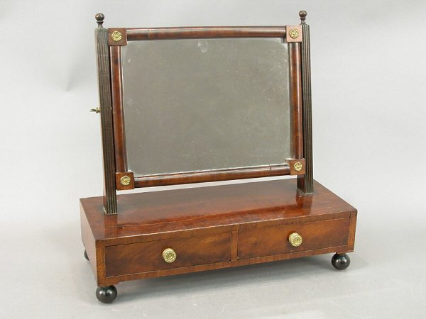 7: Mahogany Federal dresser top mirror with t