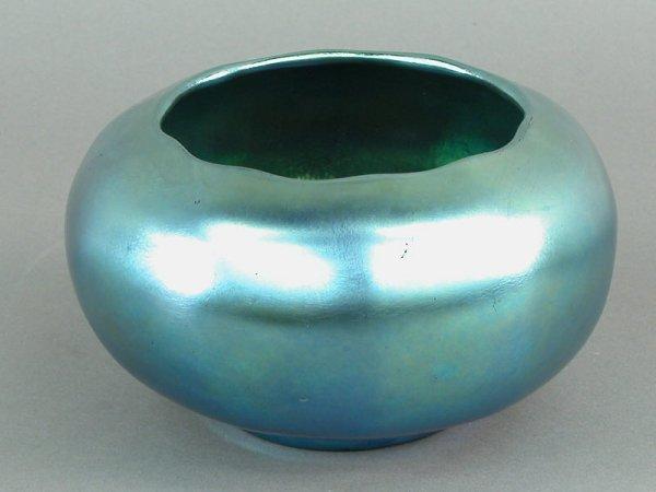 10: Steuben blue aurene rolled rim bowl with