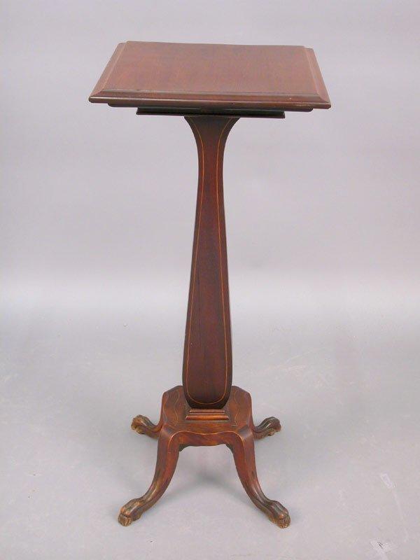 15: American mahogany inlaid pedestal with sh