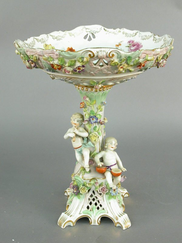 19: Dresden compote with applied floral decor