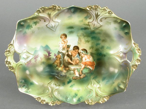 """22: R.S. Prussia pin tray with """"The Dice Thro"""