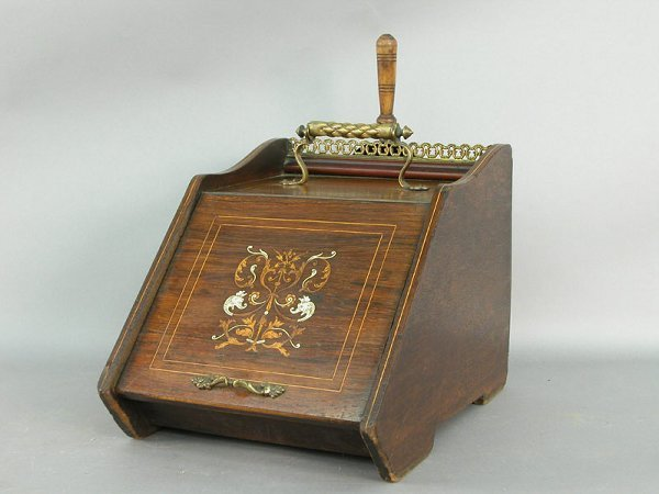 23: Mahogany English coal scuttle with inlaid