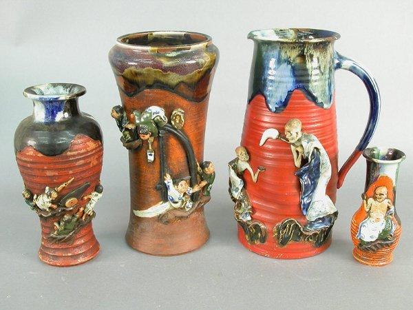 400: Four pieces Sumida Gawa drip glaze potte