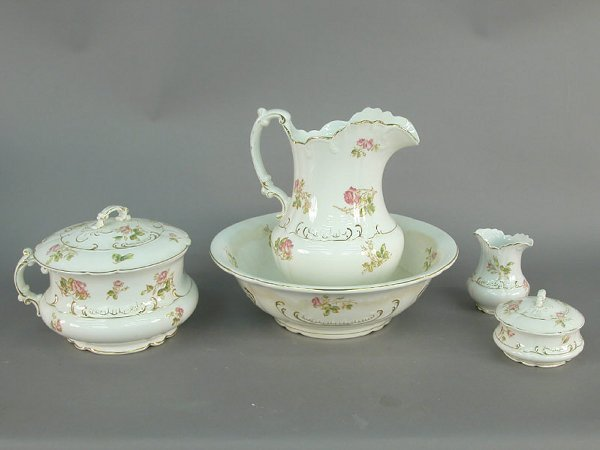 """406: Victorian """"pink rose"""" porcelain set cons"""