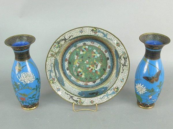 408: Pair of cloisonne vases on deep blue gro