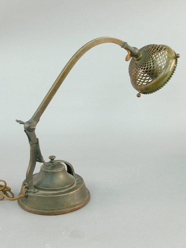 412: 20th century bronze swivel arm desk lamp