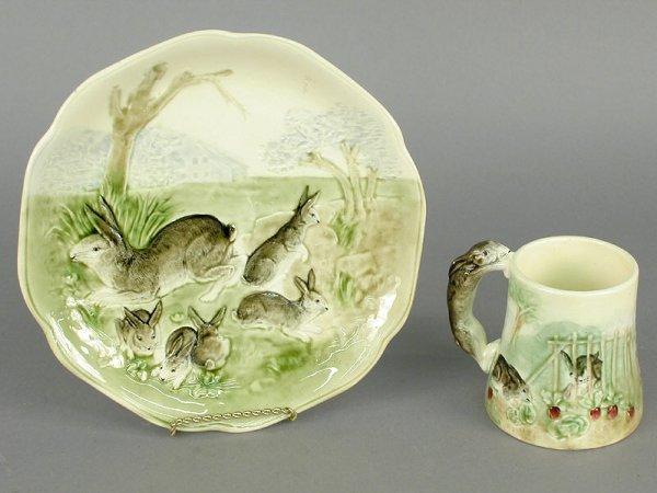 417: French Majolica bunny plate and mug, sig