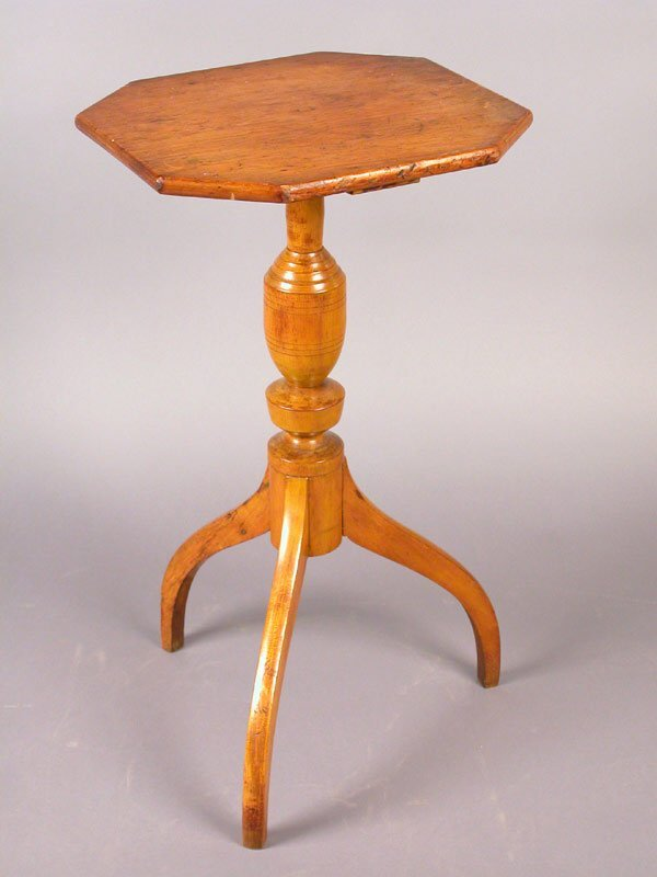 418: Octagonal maple candle stand with spider