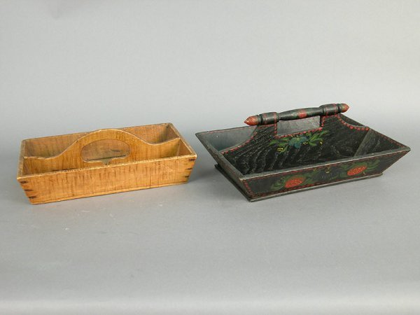 419: Two early American cutlery trays with ha