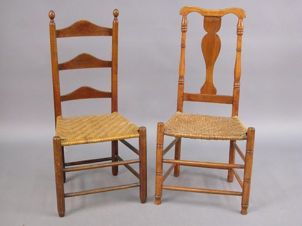 420: (2) chairs - Country ladderback side cha