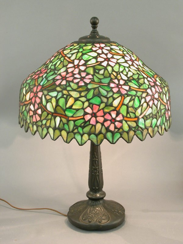 577: Stained glass lamp, pink apple blossoms