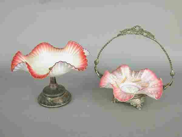 "Two Victorian brides baskets. An 8.5""h x"