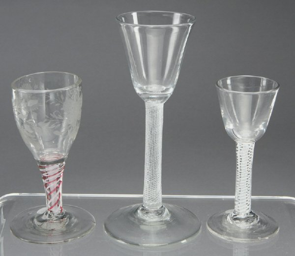 14: (3) 18th C. Glass drinking vessels with air twist