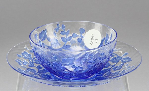 18: English Webb cameo glass bowl and under plate
