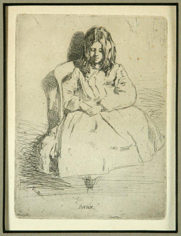 """1: James Abbott McNeill Whistler etching, """"Annie"""