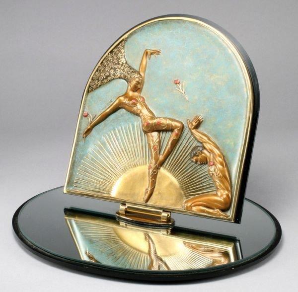 3: Erte Art Deco bronze plaque on a swiveling