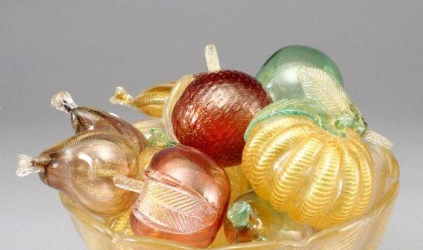 4: (11) Murano glass fruit centerpiece in bowl,