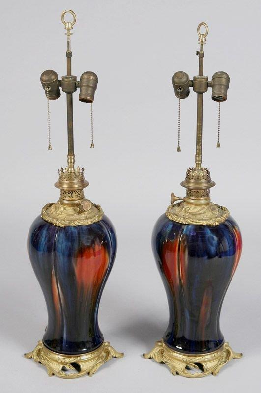 6: Pair Eugine Baudin glazed pottery and ormolu lamps