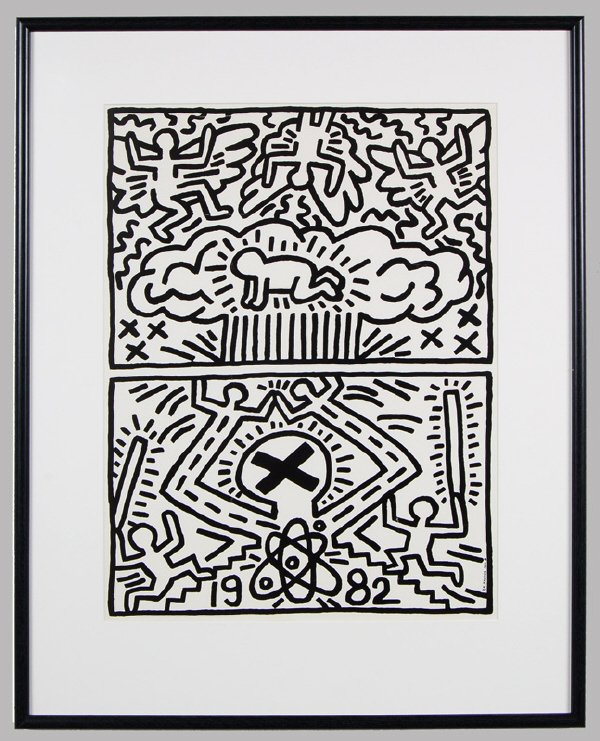 8: (2) Keith Haring offset lithographs