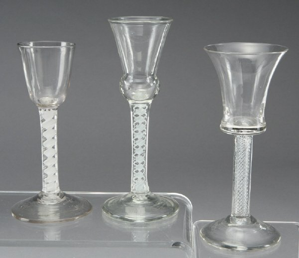 13: (3) 18th C. Glass drinking vessels with air twist