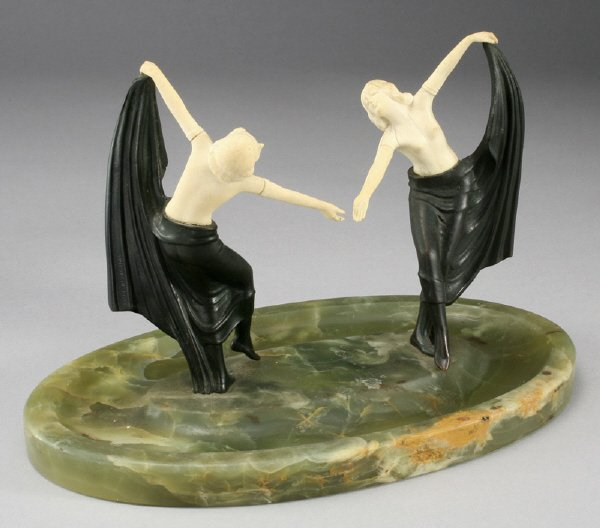 14: Art Deco figural group modeled as two ladies,