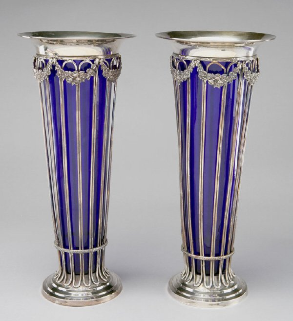 16: Pair of English silver plate vases of trumpet form
