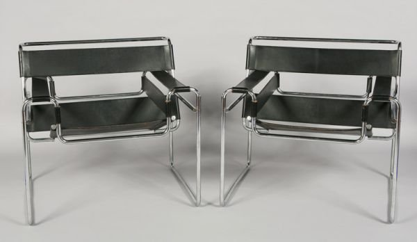 "20: Pair Marcel Breuer ""Wassily"" chrome armchairs,"