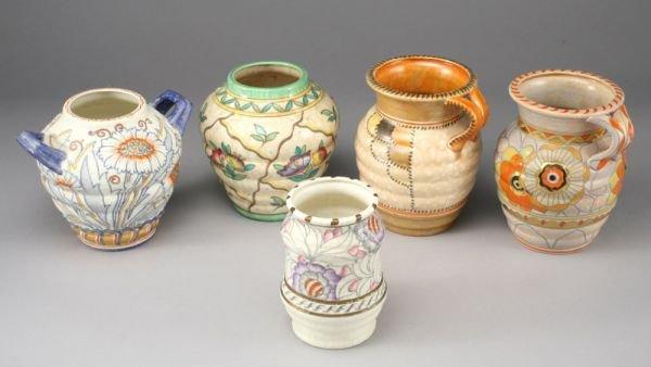 22: 5 pcs. Charlotte Rhead Crown Ducal pottery