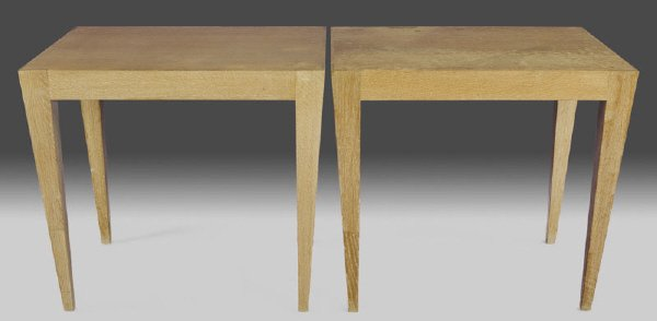 132: Pair of Art Deco style bleached oak side tables,