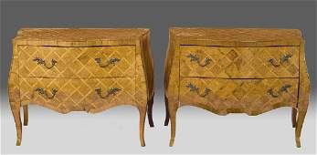207 Pair German burl walnut fruitwood bombe commodes