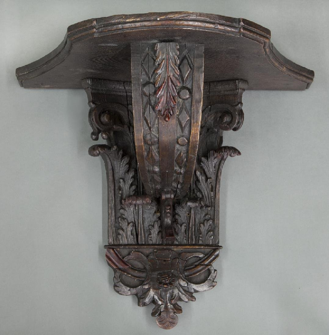Carved wood wall bracket,
