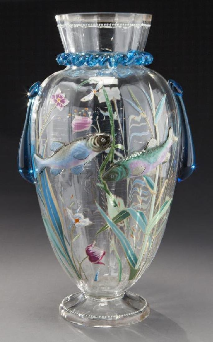 Harrach art glass vase with applied fish