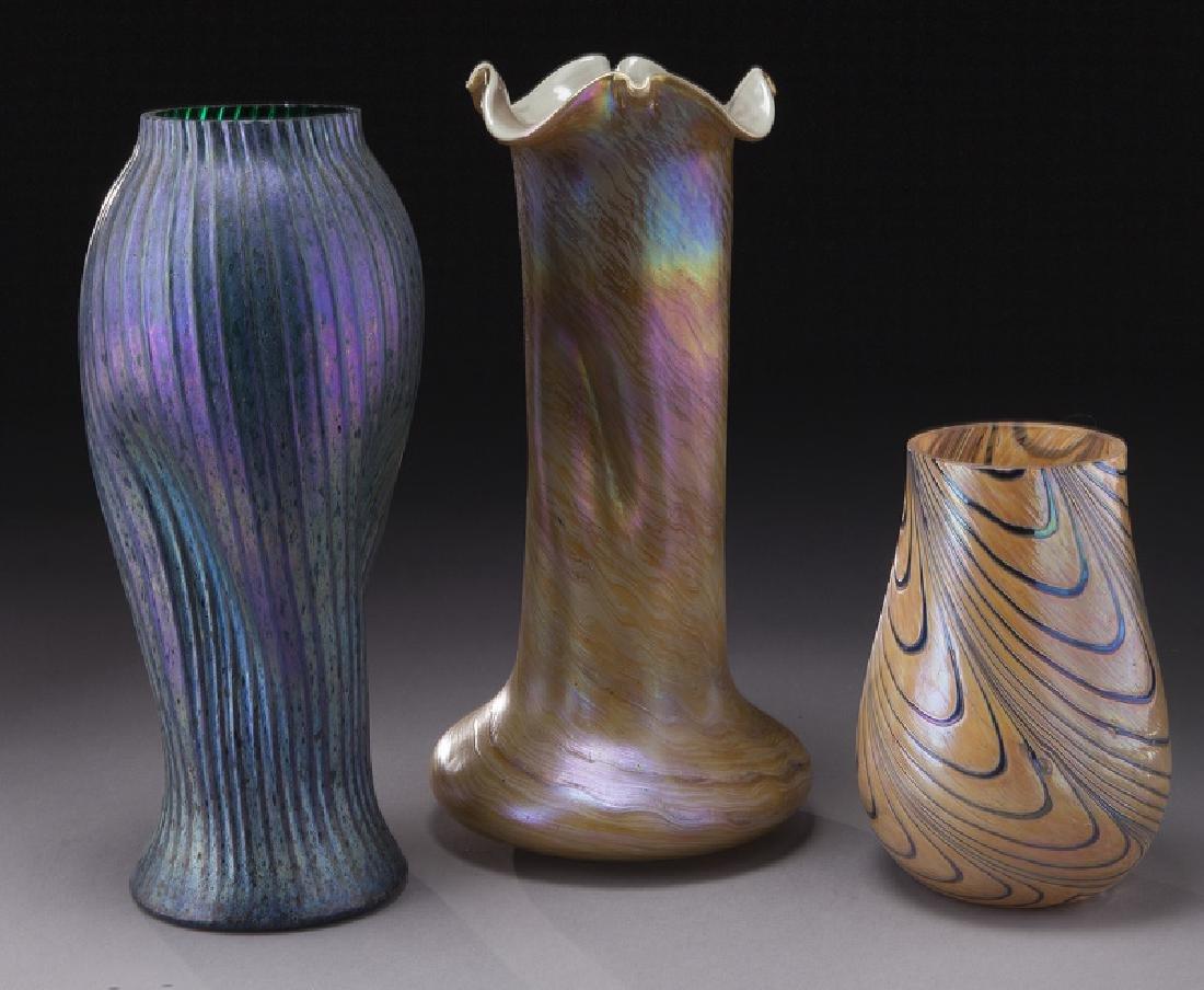 (3) Art glass vases
