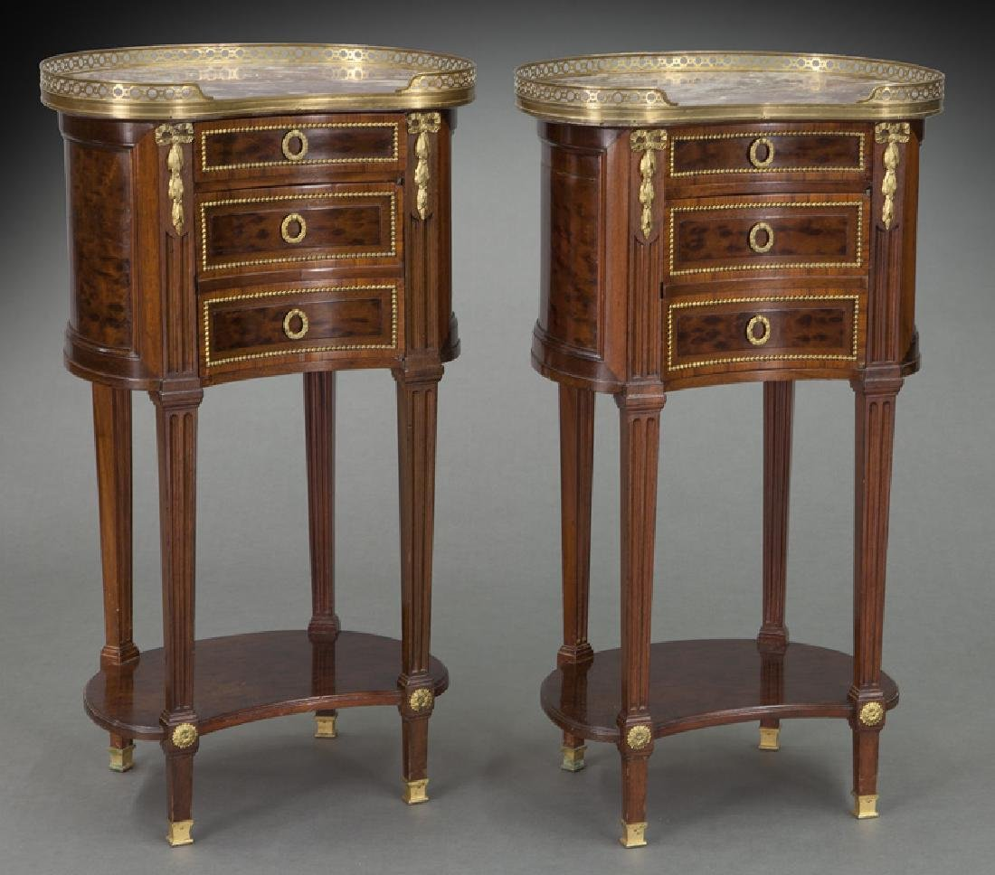 Pr. French mahogany marble top bedside tables