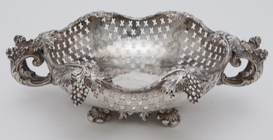 Ornate German silver pierced footed bowl