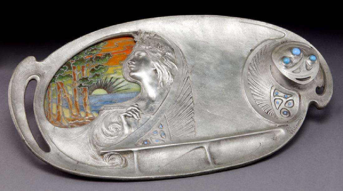 G. Flamand Art Nouveau desk tray,