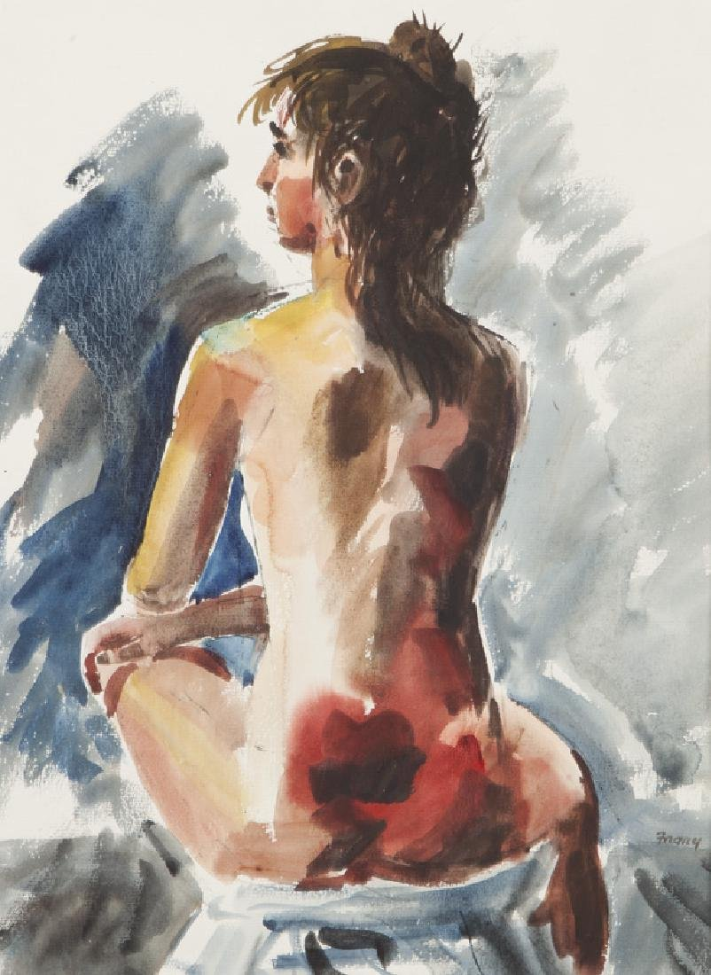 """Michael Frary """"Untitled (Nude)"""" watercolor on"""
