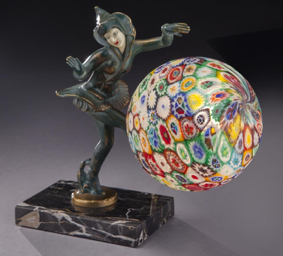 Art Deco patinated bronze figural lamp