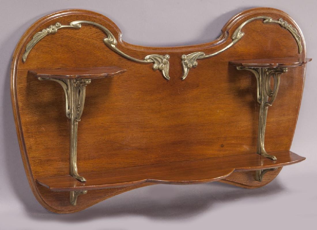 Art Nouveau mahogany and ormolu wall shelf