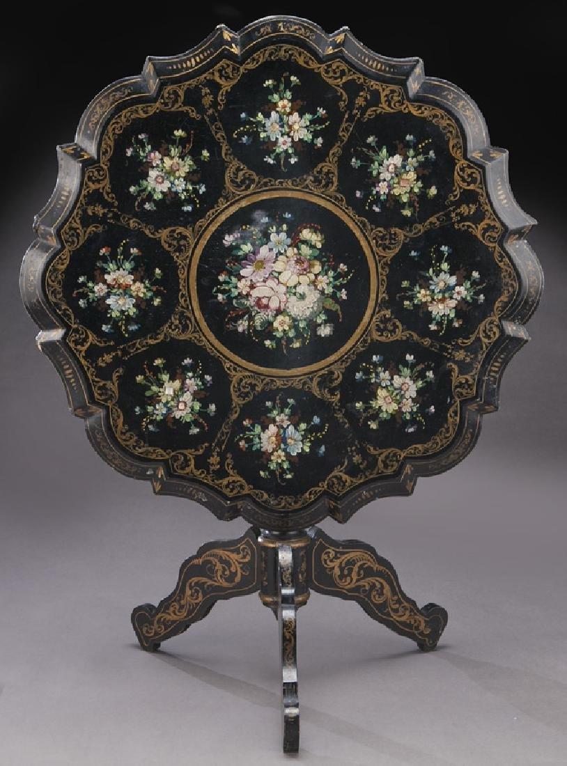 Napoleon III ebonized tilt top table,