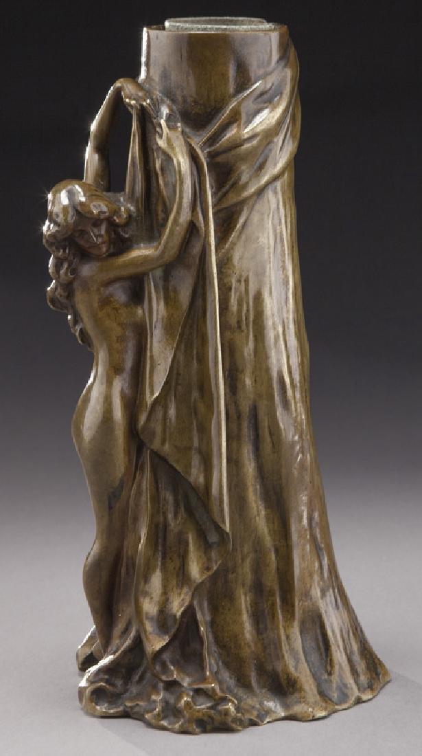Art Nouveau bronze vase with female nude