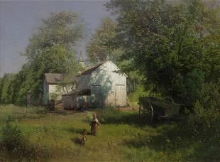 """Hermann Herzog """"On the Farm"""" oil on canvas,"""