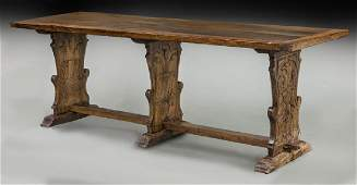 Italian Baroque carved walnut refectory table