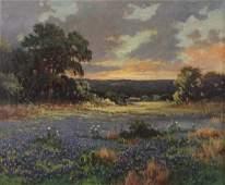 "Robert Wood ""Untitled (Bluebonnets at sunset)"" oil"