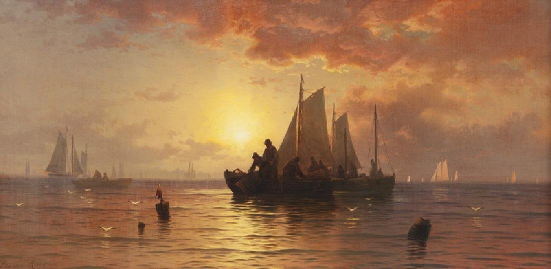"Edward Moran ""Lobster Fishing, Long Island"" oil on"