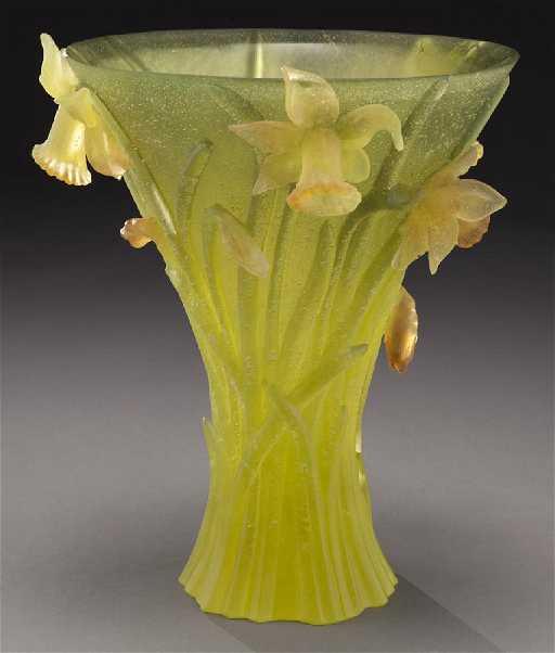 Daum Pate De Verre Daffodil Vase