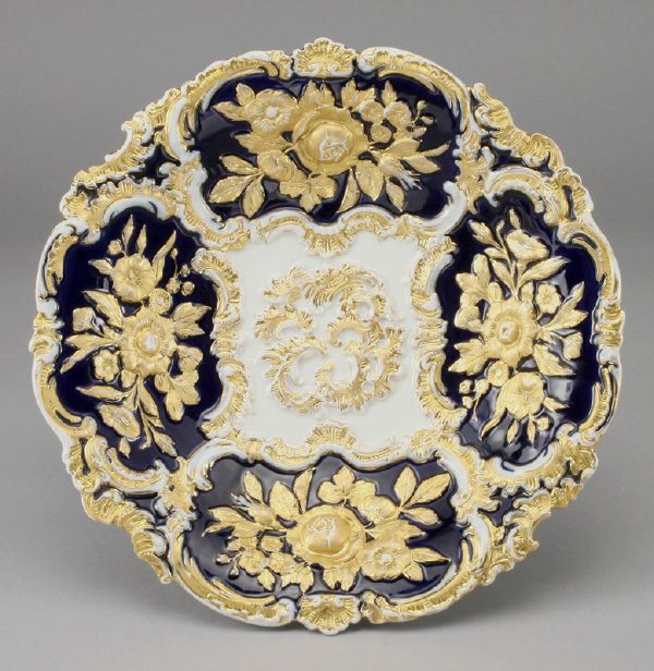 2: A Meissen cabinet plate with gilt relief