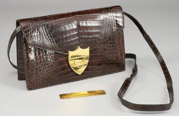 6: Paloma Picasso dark brown crocodile purse